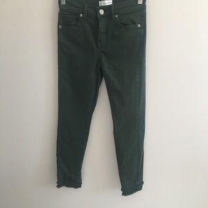 Loft Green Frayed Hem Skinny Jeans